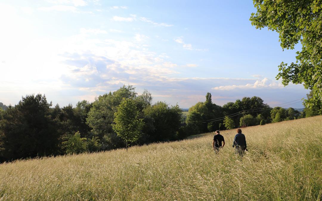 Les champs bucoliques autour des espaces de Terre et source